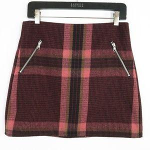 Gap Pink Plaid Wool Blend Tweed Mini Skirt Pockets